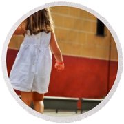 Little Girl In White Dress Round Beach Towel