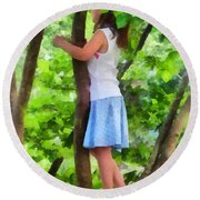 Little Girl Playing In Tree Round Beach Towel