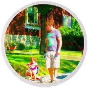 Little Girls First Bike Lesson With Dad Beautiful Tree Lined Street Summer Scene Carole Spandau  Round Beach Towel