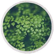 Little Green Leaves Round Beach Towel