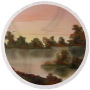 Little Haven At Sunset Round Beach Towel
