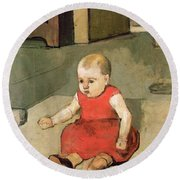 Little Hector On The Floor, 1889 Round Beach Towel