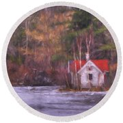 Little House On The Lake Round Beach Towel