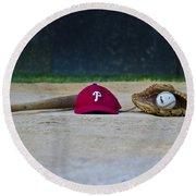 Little League Dreams Round Beach Towel by Bill Cannon