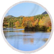 Little Long Pond And Bubbles Mount Desert Island Maine Round Beach Towel