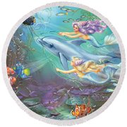 Little Mermaids And Dolphin Round Beach Towel