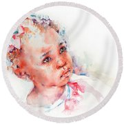 Little Miss Africa Round Beach Towel