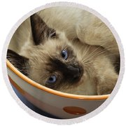 Little Miss Blue Eyes Round Beach Towel
