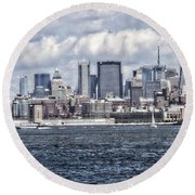 Little People In Big Places Round Beach Towel