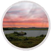 Little Pond Near The Ocean Panorama Round Beach Towel