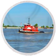 Little Red Boat On The Mighty Mississippi Round Beach Towel