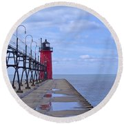 Little Red Light Round Beach Towel