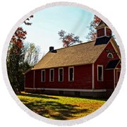 Little Red School House Round Beach Towel