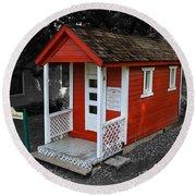 Little Red School House Round Beach Towel