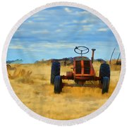 Little Red Tractor 4 Round Beach Towel