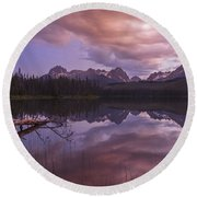 Little Redfish Lake Sunset Stanley Idaho Round Beach Towel