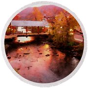 Little River Bridge At Sunset Gatlinburg Round Beach Towel
