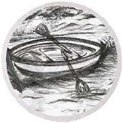 Little Rowing Boat Round Beach Towel