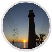 Little Sable Lighthouse At Sunset Round Beach Towel