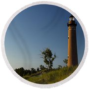 Little Sable Lighthouse By Silver Lake Michigan No.557 Round Beach Towel