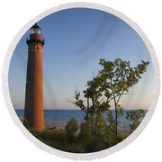 Little Sable Lighthouse By The Shore Round Beach Towel
