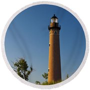 Little Sable Lighthouse On The Dune By Silver Lake Michigan No.560 Round Beach Towel