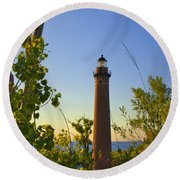 Little Sable Lighthouse Seen Through The Trees Round Beach Towel