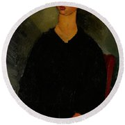 Little Servant Girl Round Beach Towel by Amedeo Modigliani