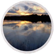 Little Silver Lake Sunset Round Beach Towel