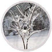 Little Snow Tree Round Beach Towel by Karen Adams