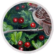 Little Sparrow In The Holly Round Beach Towel