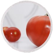 Little Tomatoes And One Big Tomato Round Beach Towel