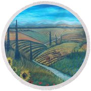 Little Tuscany Round Beach Towel