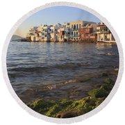 Little Venice At Sunset Mykonos Town Cyclades Greece  Round Beach Towel