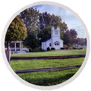 Little Village Chapel Of The Immanuel Lutheran Church Round Beach Towel