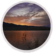 Little Washoe Sunset Round Beach Towel
