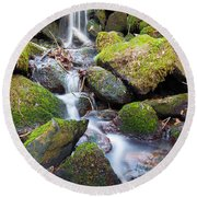 Little Waterfall In Marlay Park Round Beach Towel