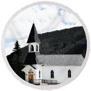Little White Church Round Beach Towel