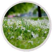 Little White Flowers II Round Beach Towel