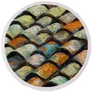 Littoral Roof Tiles Round Beach Towel