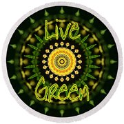Live Green 1 Round Beach Towel