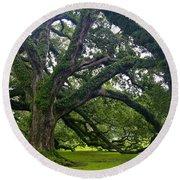 Live Oak Trees Round Beach Towel