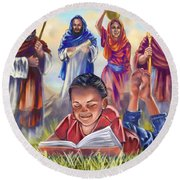 Living Bible Round Beach Towel by Tamer and Cindy Elsharouni