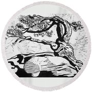Living Fossil Round Beach Towel