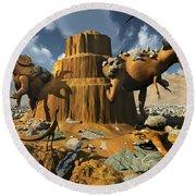 Living Fossils In A Desert Landscape Round Beach Towel