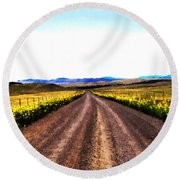 Living On Back Roads Round Beach Towel