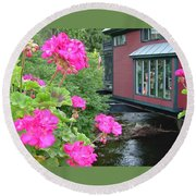 Living Over The River Round Beach Towel
