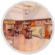 Living Room, 1905 Round Beach Towel by Alfred Grenander