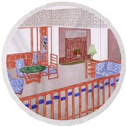 Living Room, Early 1900s Round Beach Towel