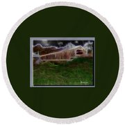 Livingston Manor Covered Bridge - Featured In Comfortable Art Group Round Beach Towel